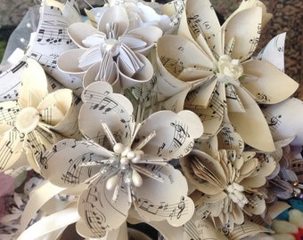 Origami Sheet Music Flowers Set of 5