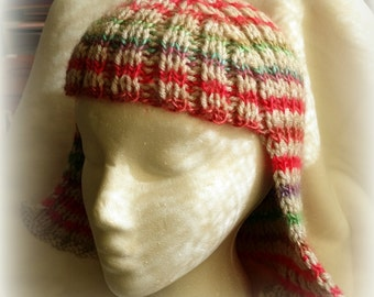Gray and rainbow striped Hat Hair Knit Wig