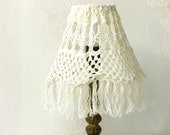 20% Off- Shabby chic lamp, Fabric Crochet lace lampshade, Antique Home decor Livingroom light, Retro lamp, Table decor, Country French style