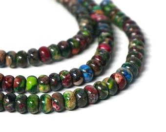 Mixed Impression Jasper Rondelles / 8mm colorful gemstone rondelle bead / 8 inch strand (1106S)