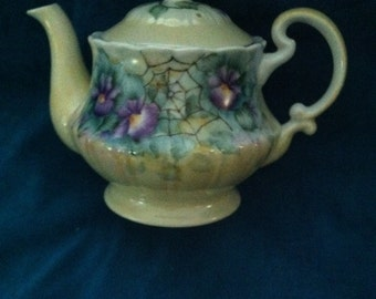 "Tea Pot 5"" tall holds approx. 2 cups. violets"
