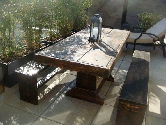 7 foot patio set wood patio set table bench set by