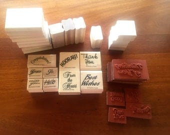 Stampin Up Phrase Stamps 17 Basic Sayings Mounted and Unmounted 1990s UNUSED