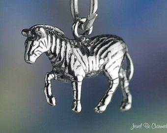 Sterling Silver African Safari Zebra Charm Wild Zebras 3D Solid .925