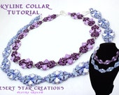 Skyline Collar Necklace Tutorial, Beadweaving Pattern, TwoHole Triangles Tango and Silky Bead Pattern, Art Deco Instructions by Laura Graham