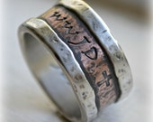 mens wedding band, rustic fine silver and copper WWJD ring, handmade artisan designed wide band ring - manly ring - custom stamped ring