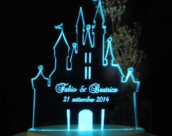 Fairytale Castle II Wedding Cake Topper  - Engraved & Personalized