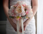 Blush Pink Peony and Rose Wedding Bouquet with Lamb's Ear and Berries