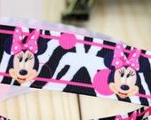CLEARANCE SALE*FREE Shipping~ one yard x  Grosgrain Ribbon 22 mm Disney Minnie and Zebra Animal Skin Prints Ribbon, Hair Bow Ribbon