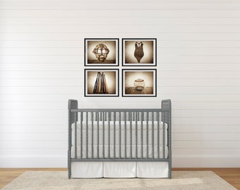 Set of Four Baseball Photo Prints, Vintage Baseball Nursery Decor, Baseball Wall art, Baseball prints
