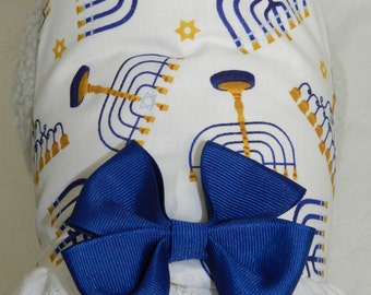 Festival of Lights! Gorgeous Jewish Holiday Hanukkah Star of David  Menorah with Bow & Lace. Custom made for your Cat, Dog or Ferret.