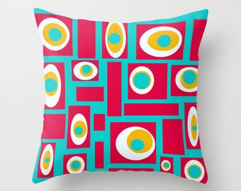 Outdoor Pillow, Modern Outdoor Pillow, Turquoise Outdoor Pillow, Geometri Outdoor Pillow, Mid Century Modern Outdoor Pillow, Outdoor  Pillow