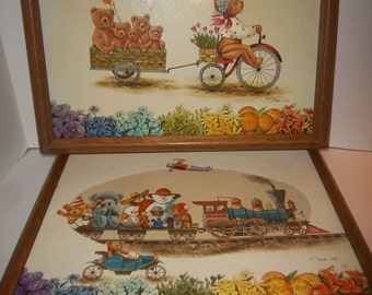 R. Smith's Fantasy Framed on Canvas Teddy Bears In Motion Pair Signed Nursery Decor