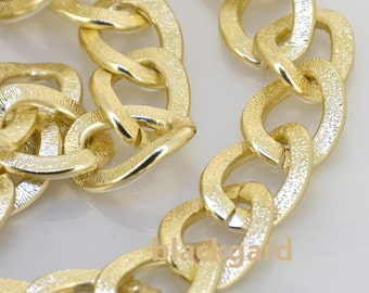 1m 38inch one of  plated Light  gold on aluminum alloy o circle necklace loop chain deep 2mm loop about 20mmx25mm