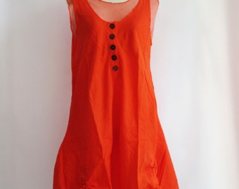 D7, Two Tone Kawaii Orange Cotton Dress, Orange sundress
