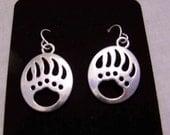 Bear Paw Earrings, Antique Silver Tone Star earrings - Silver Bear Paw Jewelry