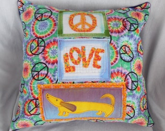 "Dachshund Pillow Cover / Retro Hippie / ""Peace Love Dachshunds"""