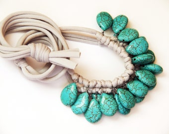 turquoise and pale grey/stone necklace