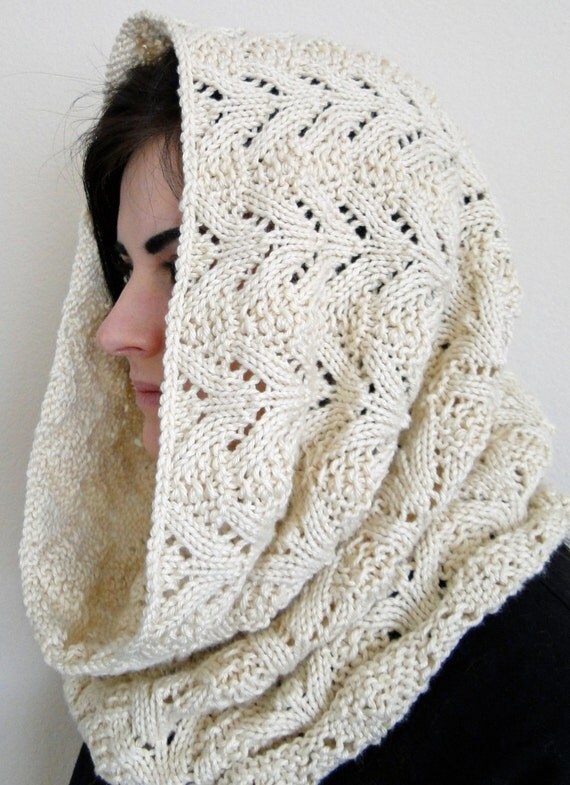 Hooded Neck Warmer Knitting Pattern : PDF Pattern for Knit Neck Warmer Hooded Cowl Scarf Norwegian Fern Stitch in C...