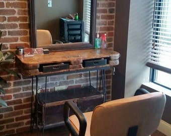 Rustic Bohemian Vanity TABLE Salon station Boho Repurpose Industrial Salvage Antique Pallet Cart Desk Distressed wrought iron  storage Whagn