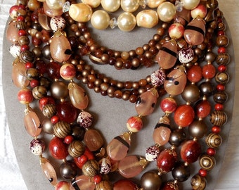 5 FALL-TONE Multi Strand Vintage Bead Necklaces to Wear or Craft with