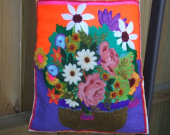Vintage Hand Embroidered Tote Bag. Canvas Fabric. Handmade Embroidery Decoration. Great Colors. Market Tote Bag. Make Do Utilitarian Art Bag