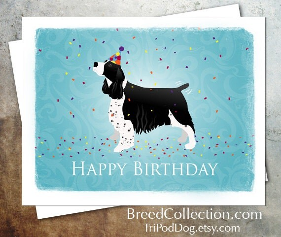 English Springer Spaniel Dog Birthday Card From The Breed