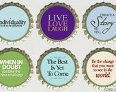 Inspirational Quotes Magnet Set 6 Bottle Cap Magnets, kitchen organization, motivational quote, inspirational saying, gift for friend