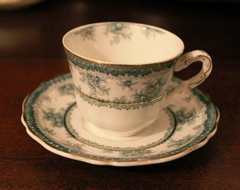 Royal Vitreous English demitasse cup and saucer white and green with gold trim antique