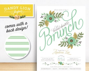 Mint Floral Bridal Shower Brunch Digital Invitation - DIY Printable