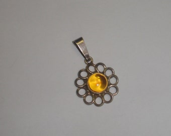 Vintage Sterling Silver Southwestern Large Mexico Flower Style Amber Cab Pendant