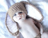 3 to 6m Bunny Hat, Baby Bunny Hat, Brown White Bunny Beanie Photography Photo Prop, Crochet Bunny Hat, Unisex Baby Hat, Baby Shower Gift