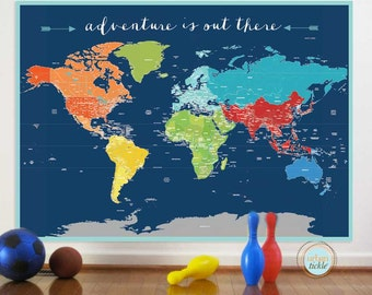 World Map Sticker, Adventure World, Nursery Decor, Baby Room, Play room ideas, Educational Map, Map for kids