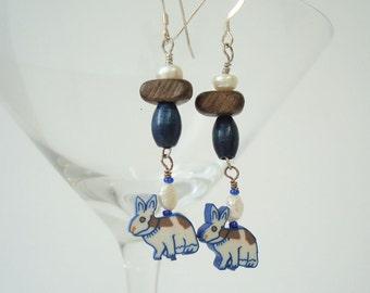 Rabbit Earrings Beaded Dangle Nature Earrings Woodland Jewelry Animal Earrings Fresh Water Pearl Wood Polymer Clay