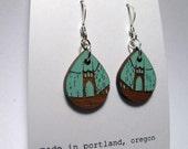 St Johns Bridge Painted Blue Earrings, Small Wood Teardrop, Standard Hook