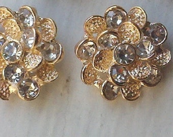 21 mm , 10 Pieces Gold Metal  Button with Clear Glass Rhinestones. Craft Supply, Bridal Embellishment