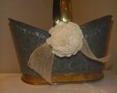 Vintage Metal Country flower Girl Basket (Bucket)