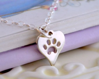 Sterling Silver Pet Necklace, Child Teen Women, Pawprint Heart Charm, Dogs and Cats, Remembrance, Pet Loss, Memorial Jewelry