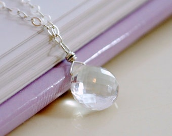 April Birthstone Necklace, Crystal Quartz Jewelry, Simple Child's Necklace, Children Jewelry, Sterling Silver, Real Gemstone