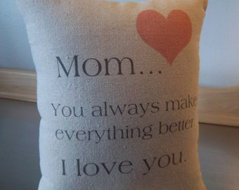 Mom birthday gift pillow cotton throw pillow mom just because gifts mother cushion mama long distance gift quote pillows neutral home decor