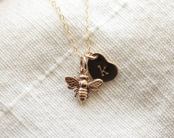 Tiny Bee Necklace, Gold Fill, Sterling Silver, Initial Charm Necklace, Personalized Necklace Honey Bee Necklace, Dainty Everyday Necklace