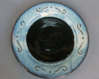 Stoneware Plate with Elegant Swirls Speckled Blue and Glossy Black Texture