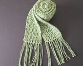 Sage green soft cotton scarf- extra long