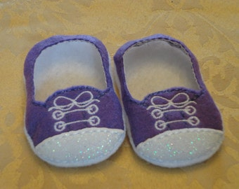 """18"""" Doll Shoes - Purple with White Glitter Toe Sneakers"""
