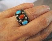 Vintage Sterling Turquoise Coral Dome Navajo Ring