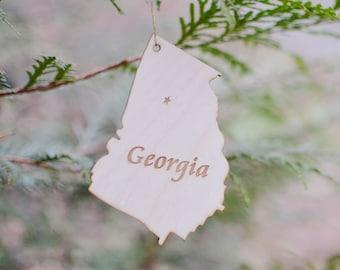 Natural Wood Georgia State Ornament