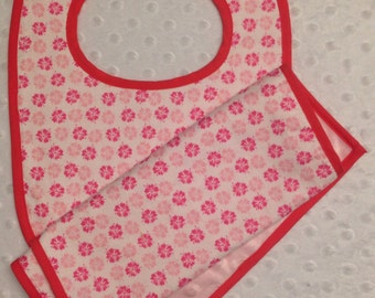 Pink Floral Baby Bib and Burp Cloth Set - Minky Baby Shower Gift - Can Be Monogrammed with Baby's Name or Initials