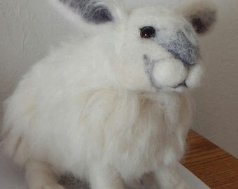White Rabbit Needle Felted Sculpture Easter