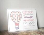 Printable Birth Announcement Art Print - Nursery Name Art - Hot Air Balloon with Polka Dots