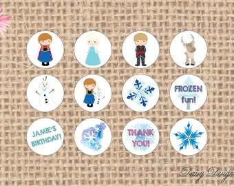 Circle Stickers - Frozen Snow Princess - Perfect for Baby Showers or Birthday Parties